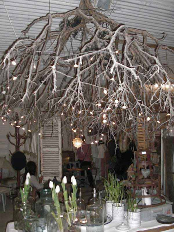 22 DIY Ideas For Rustic Tree Branch Chandeliers World Inside Pictures