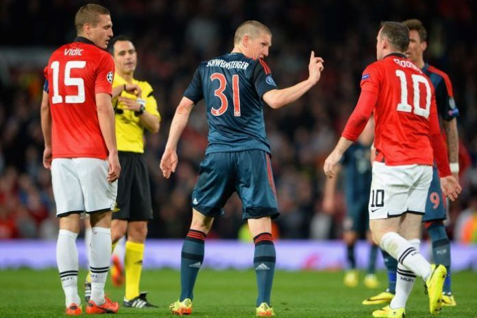 Bastian Schweinsteiger complains to Rooney about diving after being sent off