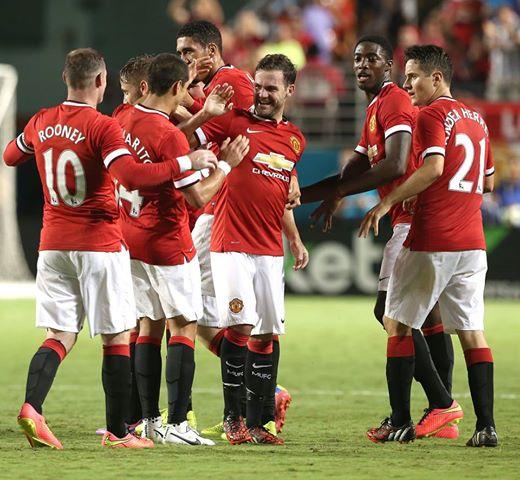 Juan Mata Celebrates After Netting United'S Second Goal