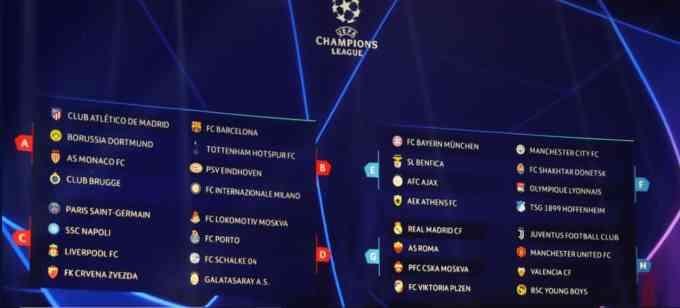 Ch League 1819 Groups