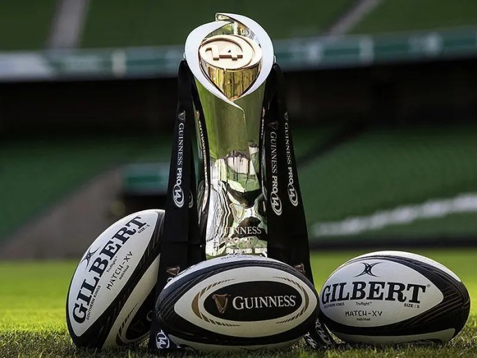Pro14 trophy with balls