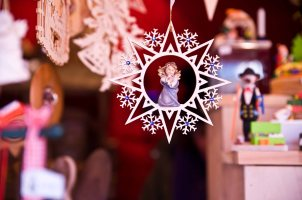 Wood Christmas Star with Angel