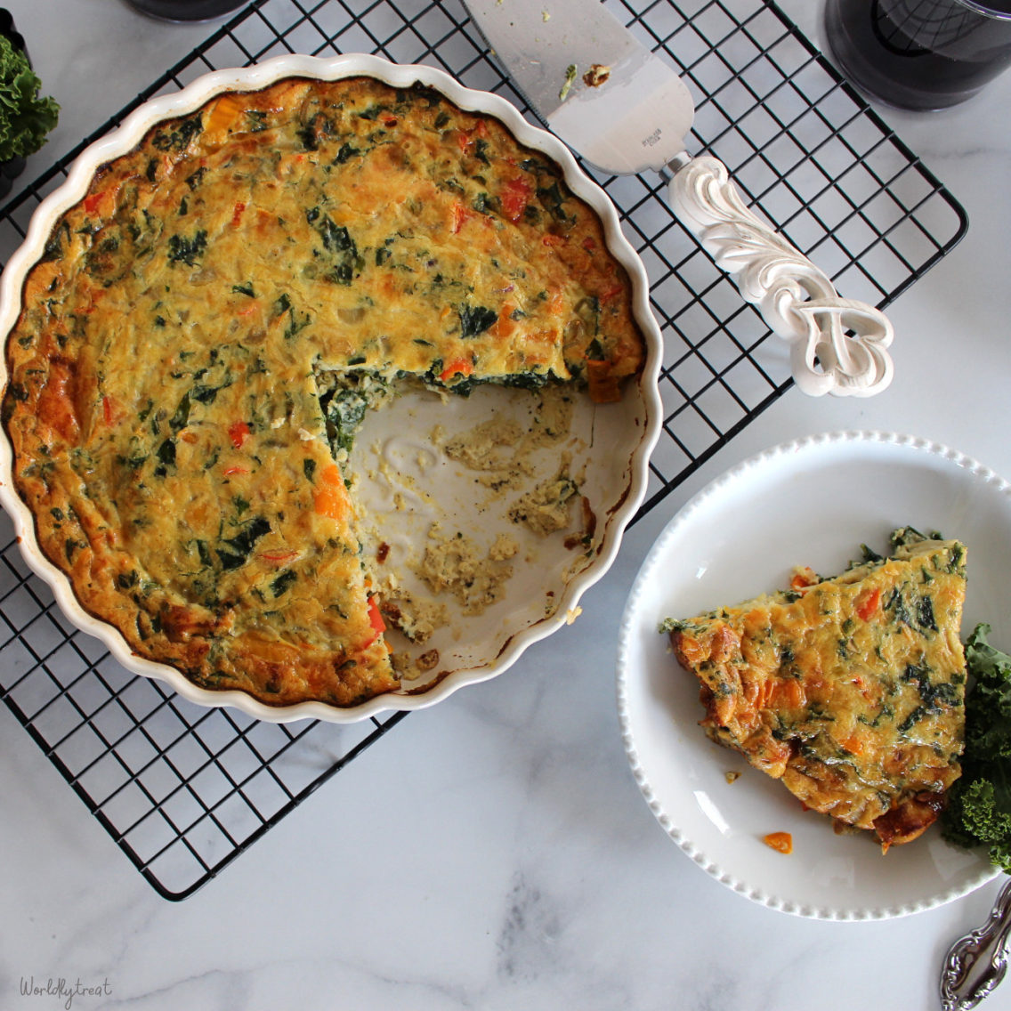Crustless Vegetable and Sausage Quiche