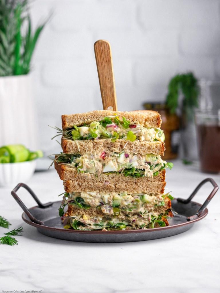 tuna cucumber salad sandwich