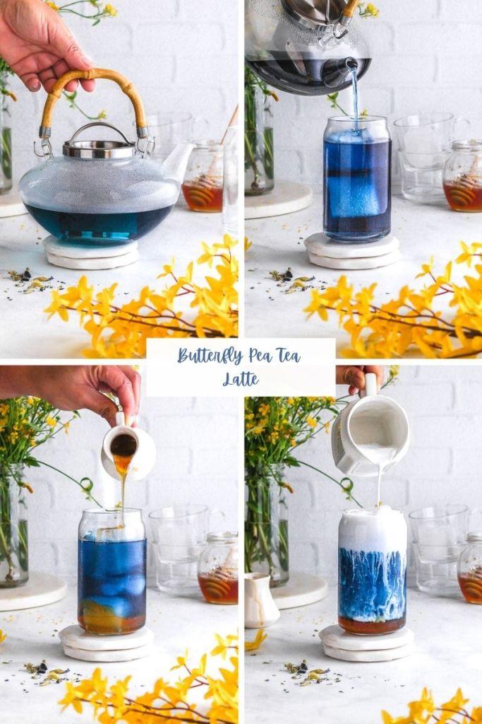 making butterfly pea tea latte