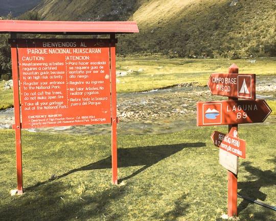 laguna 69 trail head huascaran national park