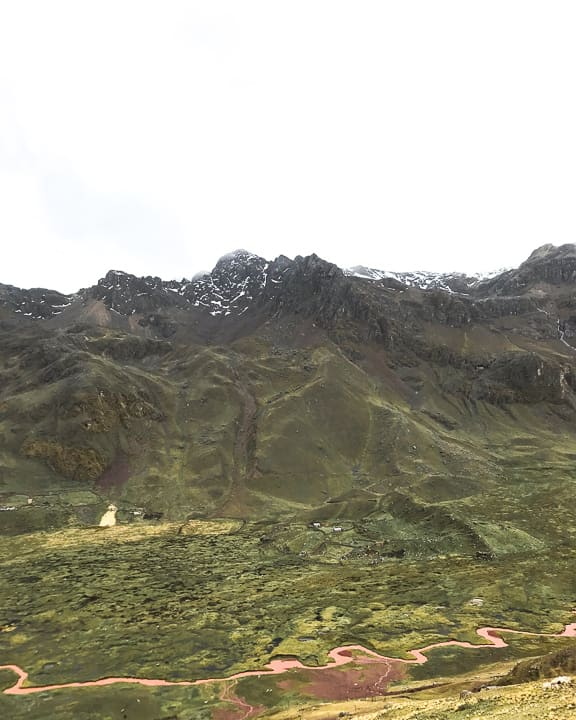 andes glacier on the way to rainbow mountain