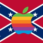 confederate flag overlain with apple rainbow and atats
