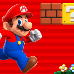 super mario runs to the right alongside a question mark block