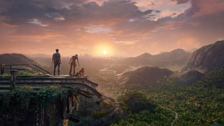 uncharted characters look at a sunset