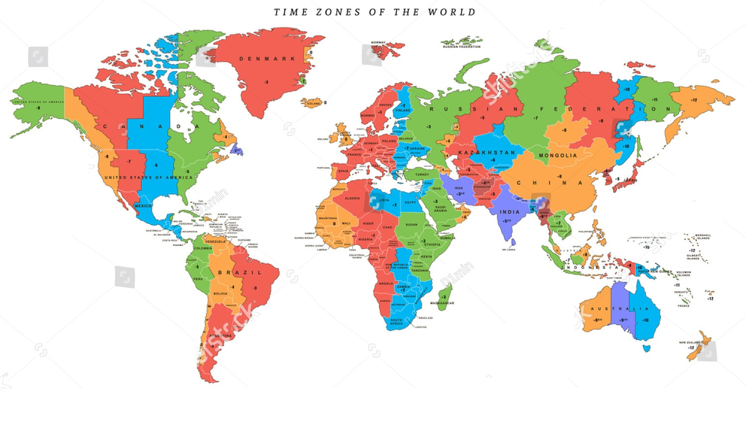 Free Large World Time Zone Map Printable