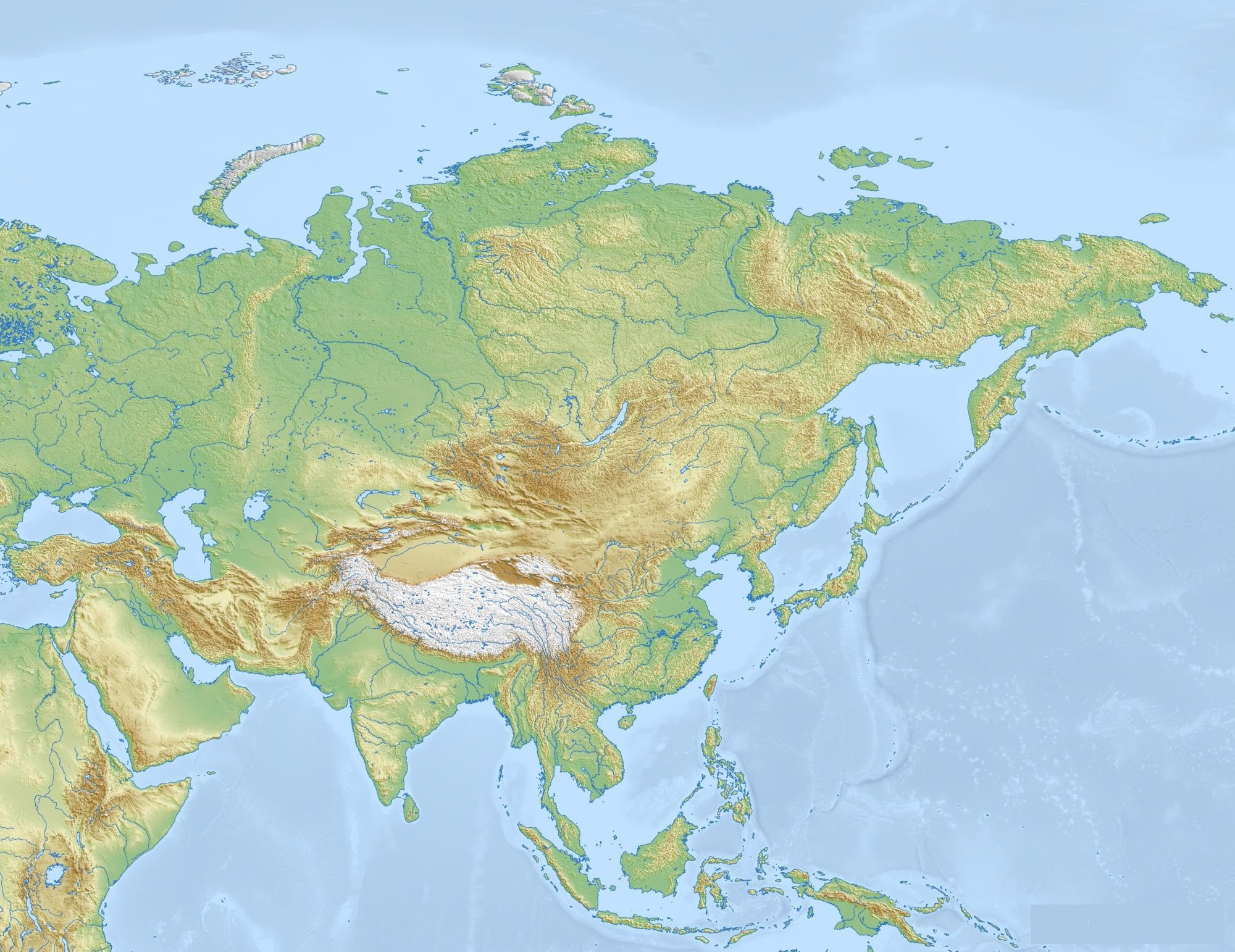 Free Detailed Printable Blank Map Of Asia Template In