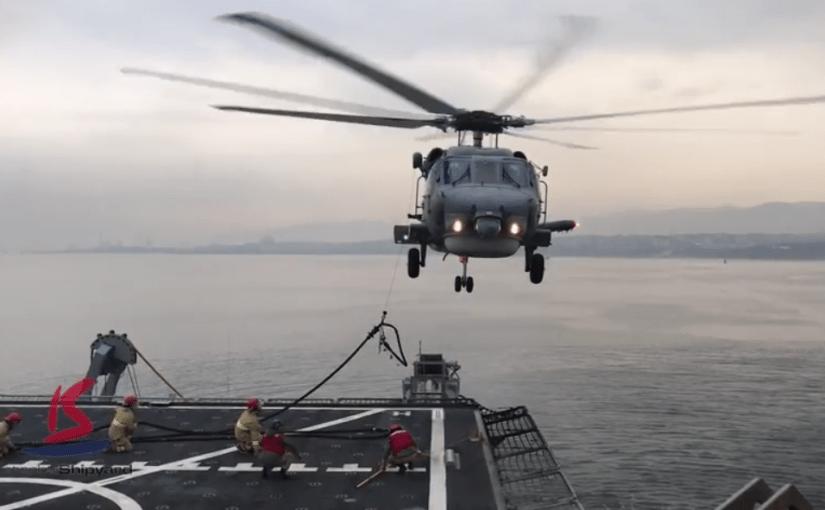TCG ALEMDAR (A-582) Helo Landing & HIFR operation videos