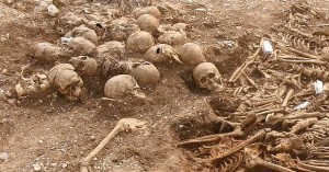 A total of 68 skeletons were found buried together, directly over the top of a rather crude stone structure.
