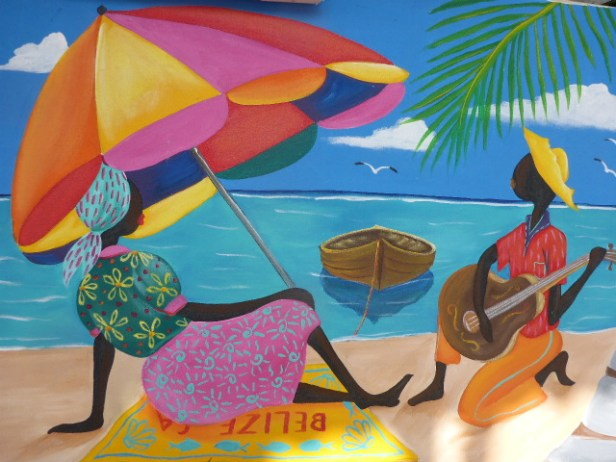 Caye Caulker art at the local cafe