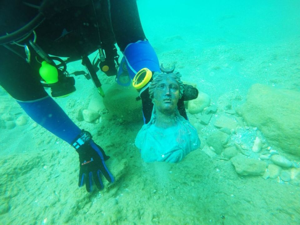 Ancient Bronze Bust of Luna Being Recovered from Caesarea Shipwreck