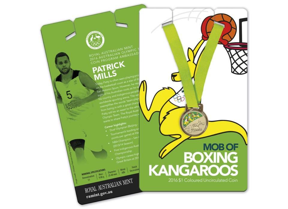 Australia 2016 Olympics Coxing Kangaroo $1 Coin on Basketball Card