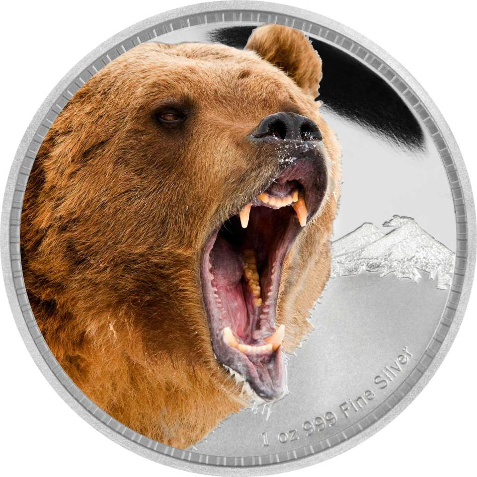 2016 Grizzly Bear Silver 1oz Coin Reverse