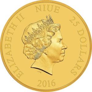 2016 Disney Princess gold coin obverse