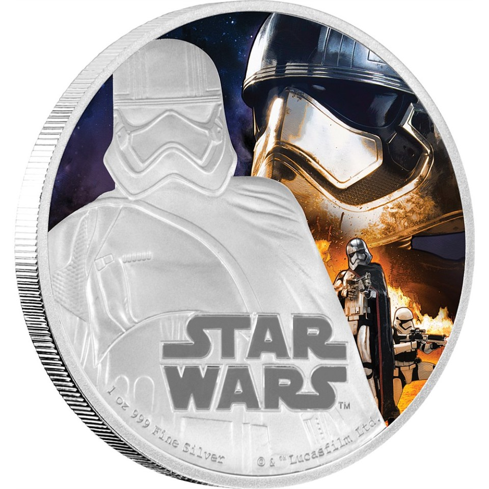 Star Wars: The Force Awakens 2016 Captain Phasma Silver Coin Reverse