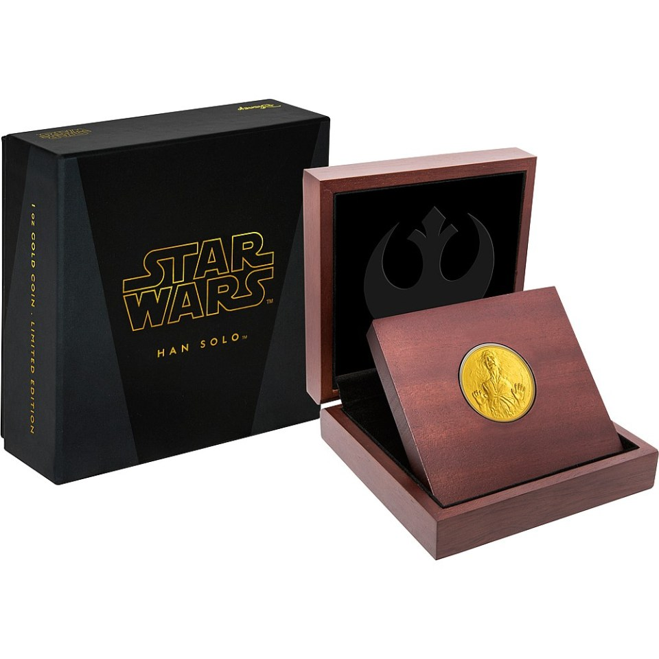2016 Star Wars Han Solo 1oz Gold Coin in Display Case
