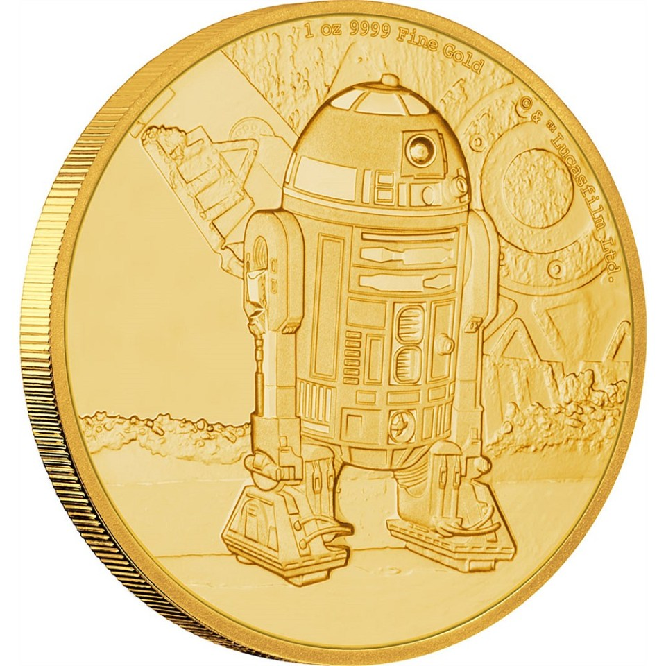 2016 Star Wars R2-D2 1oz Gold Coin Reverse