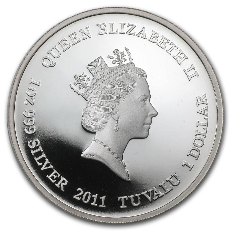 Tuvalu 2011 Silver Tazmanian Tiger Coin Obverse
