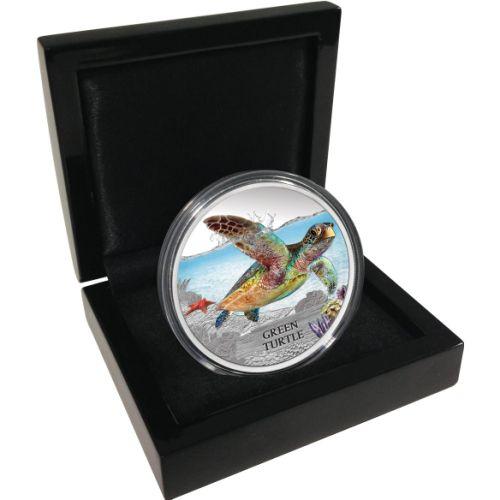 Tuvalu 2014 Silver Green Turtle Coin in Box