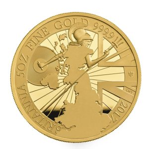 UK 2017 Proof Britannia 5oz Gold Coin Reverse