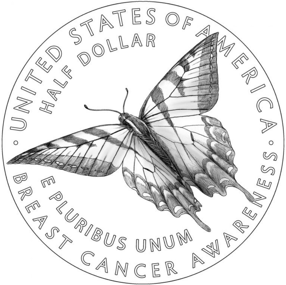 USA 2018 Breat Cancer Awareness Commemorative Coin Reverse Design