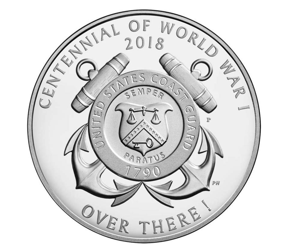 USA WWI Centennial Coast Guard Silver Medal Reverse