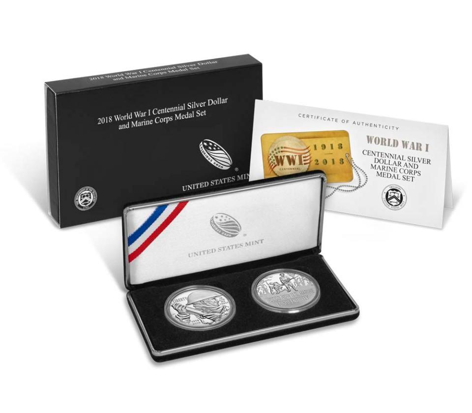 USA WWI Centennial Marines Silver Medal Companion Set