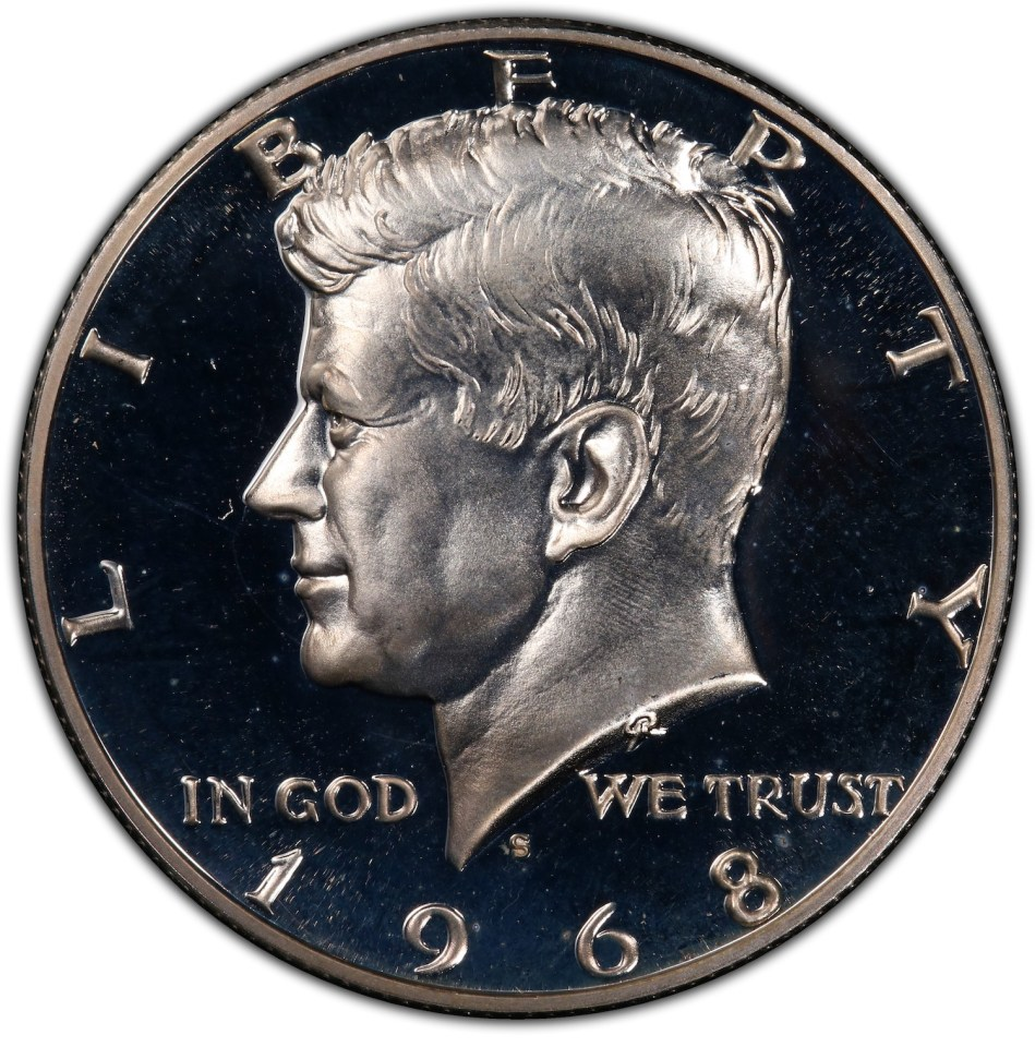 1968 Inverted S Kennedy Hald Dollar Coin Obverse