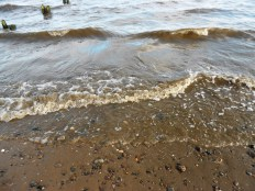 The waves at Broughty Ferry beach.