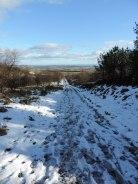 Snowy track up Balkello Hill
