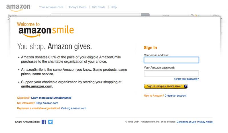 Login to Amazon Smile