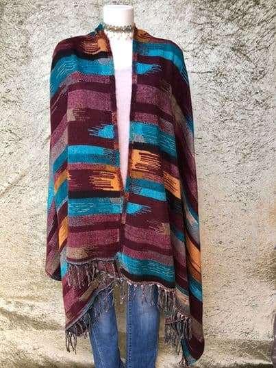 Tibetaanse sjaal, met mooie felle kleuren