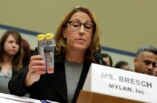 Mylan NL CEO Heather Bresch holds EpiPens during a House Oversight and Government Reform Committee hearing on the Rising Price of EpiPens at the Capitol in Washington