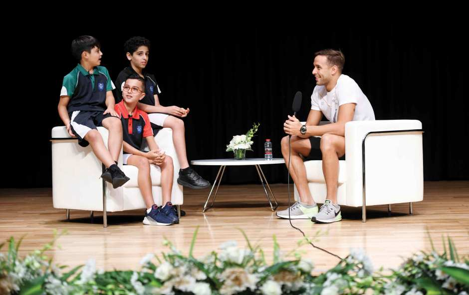 Swimming scholars interviewing Chad le Clos
