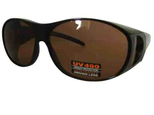 Amber Low Sun Driving Lenses Over Top Sun Shields with Spring Hinges