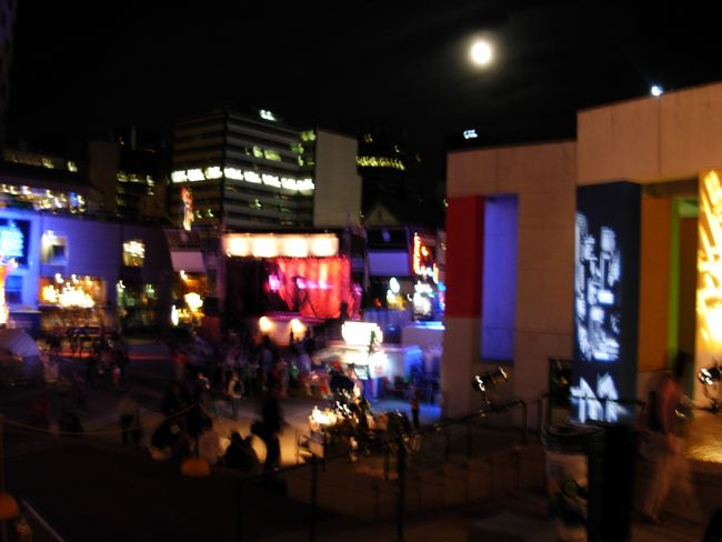 moonlight and neon over the Place des Arts