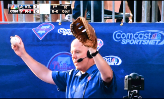 Tom McCarthy Catches Homerun on LIVE TV at Phillies Game