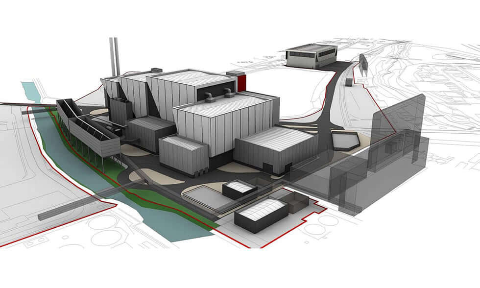 CGI illustration of the Lostock energy-from-waste facility