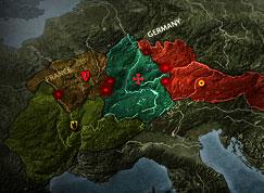 """Ejemplo de Mapa Global donde vemos diferentes provincias europeas """"inundadas"""" en rojo marcando que estan ocupadas por un Clan."""