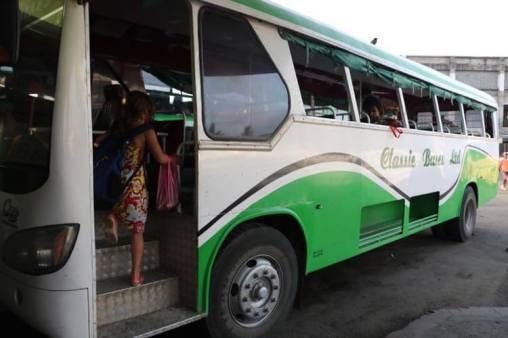 Getting on the bus in Fiji