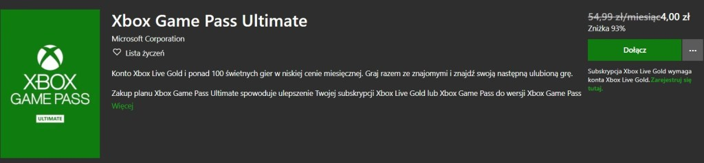 Xbox Game Pass Ultimate Promocja