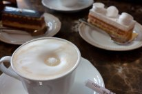 Coffee and sweets at Eliseyev Emporium on Nevsky Prospect in St. Petersburg
