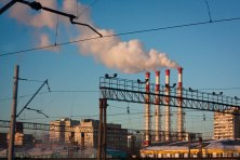 Smokestacks in the morning in downtown Moscow