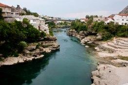 Overlooking river Neretva in Mostar, Bosnia