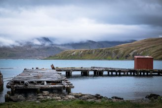 Dock at Grytviken Whaling Station on South Georgia Island on a cloudy day